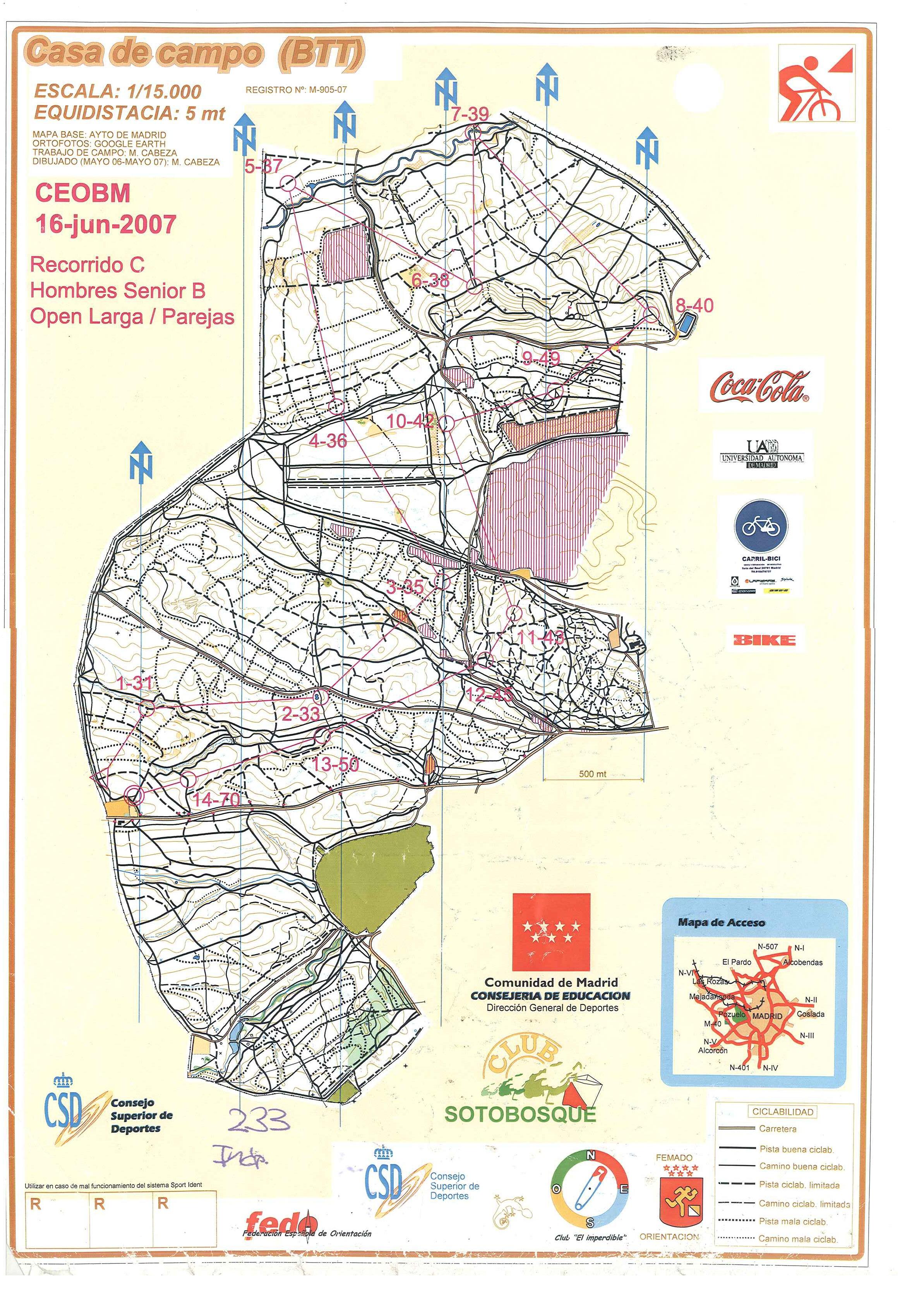 Carreras de orientaci n en bicicleta de monta a - Mapa de la casa de campo ...